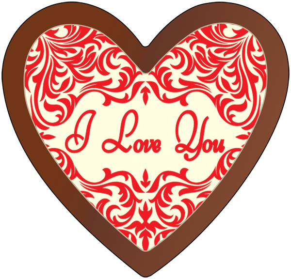 Printed Love Heart Chocolate Plaque