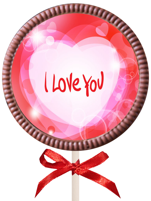 Printed Love Chocolate Round Lollipop
