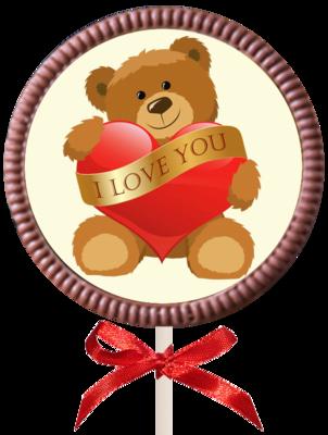Printed Love Chocolate Round Lollipop