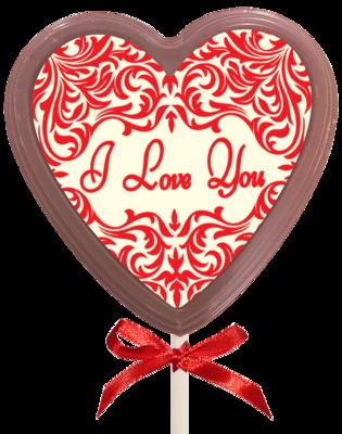 Printed Love Chocolate Heart Lollipop