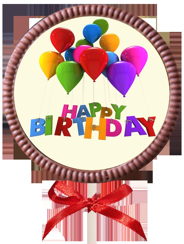 Large Printed Birthday Chocolate  Round Lollipop