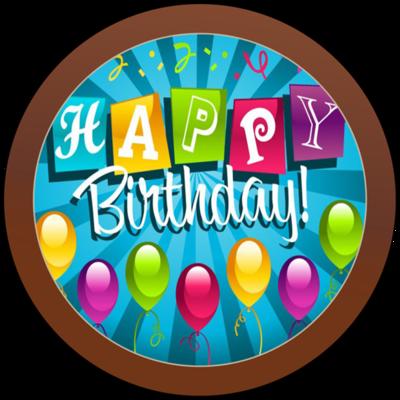 Printed Birthday Chocolate Round Plaque