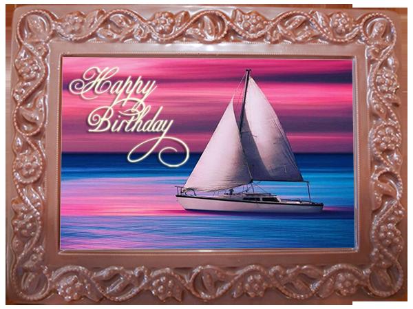 Printed Birthday Chocolate Large Frame Flowers & Leaves