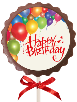 Large Printed Birthday Chocolate  Flower Lollipop