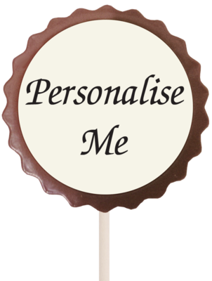 Large Personalised Printed Belgian Chocolate Lollipop (Flower)