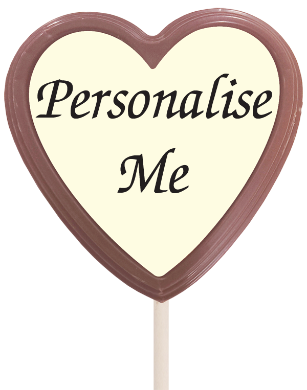 Large Personalised Belgian Chocolate Lollipop (Heart)