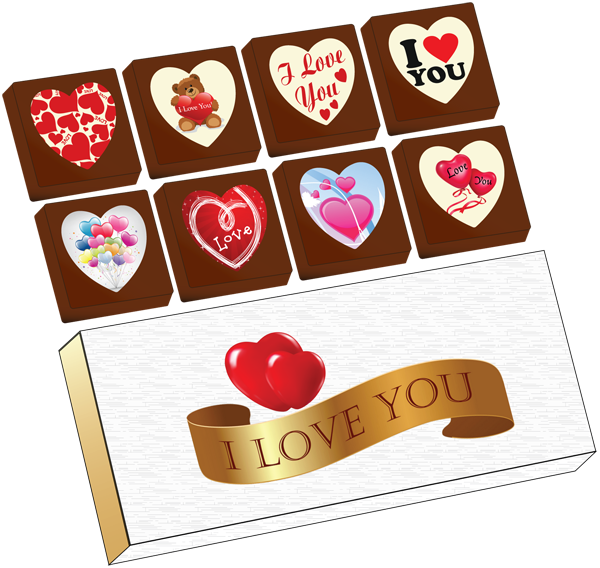 A Box of 8 Printed Love Chocolates