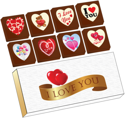 A Box of 8 Printed Love Chocolates