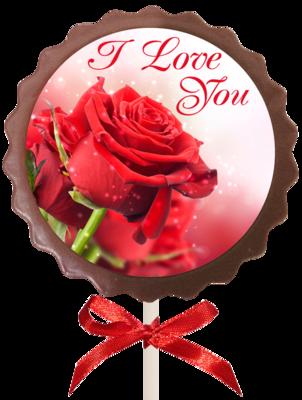 Printed Love Chocolate Flower Lollipop