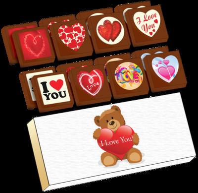 A Box of 16 Printed Love Chocolates