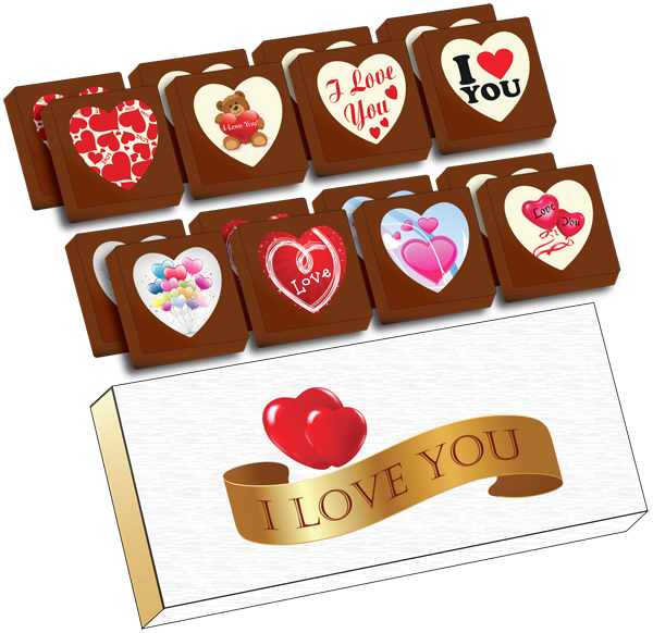 A Box of 16 Printed Love Chocolates