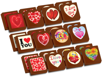 A Box of 24 Printed Love Chocolates