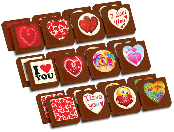A Box of 24 Printed Love Chocolates