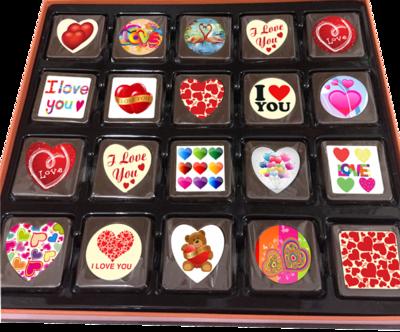 A Box of 40 Printed Love Chocolates