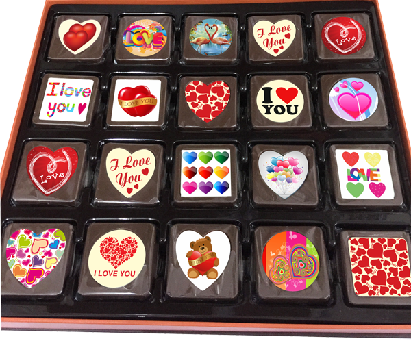 A Box of 40 Printed Love Chocolates