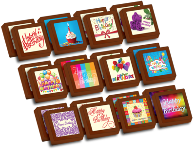 Small Shapes Printed Birthday Chocolate (Box of 24)