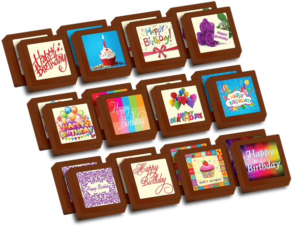 Small Shapes Printed Birthday Chocolate (Box of 24)