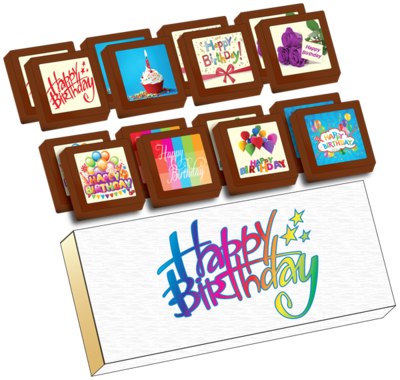 Small Shapes Printed Birthday Chocolate (Box of 16)