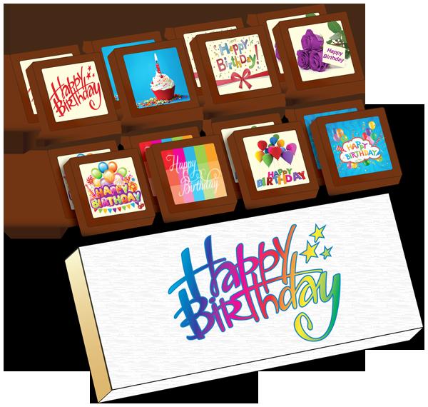 Small Shapes Printed Birthday Chocolate (Box of 16)
