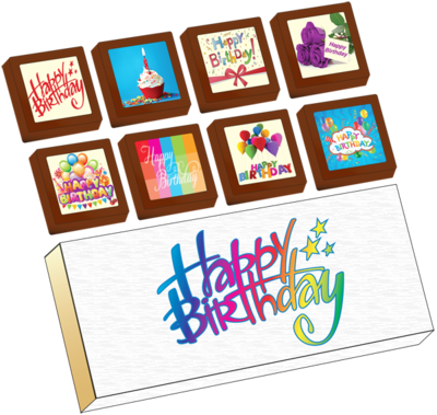 Small Shapes Printed Birthday Chocolate (Box of 8)