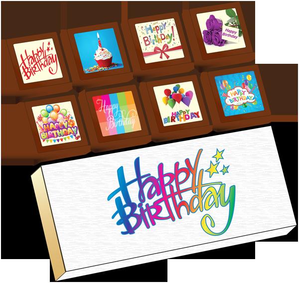 Small Shapes Printed Birthday Chocolate (Box of 8)