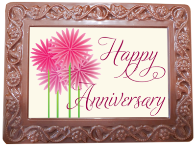 Large Anniversary Printed Chocolate Frame Flowers & Leaves