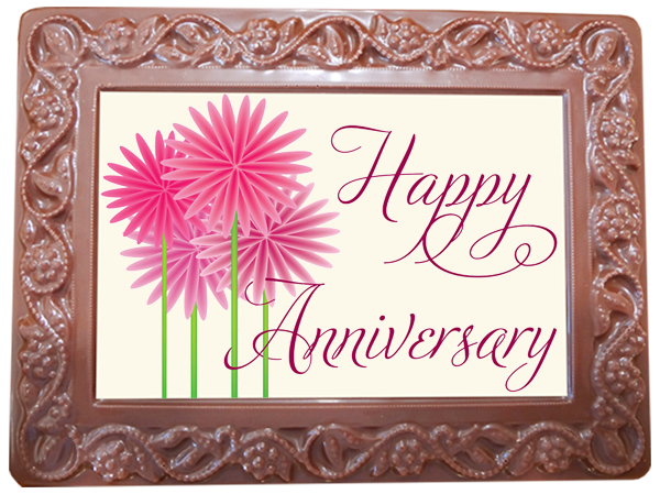 Large Anniversary Printed Chocolate Frame Flowers & Leaves