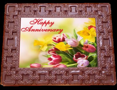 Large Anniversary Printed Chocolate Frame SQUARES