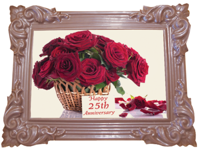 Large Anniversary Printed Chocolate Frame TRADITIONAL - 25th Anniversary
