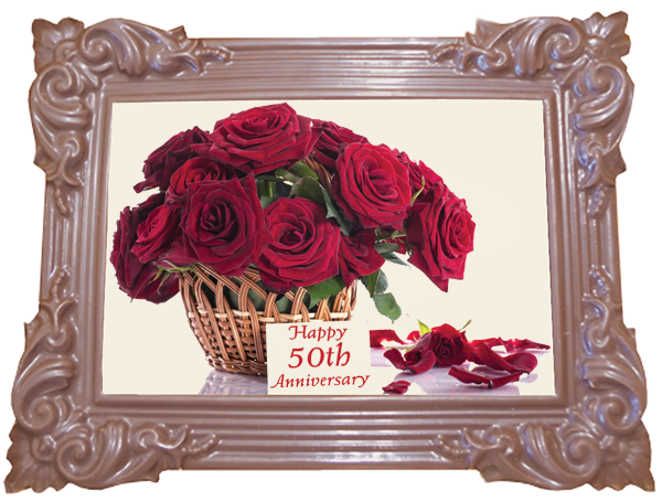 Large Anniversary Printed Chocolate Frame TRADITIONAL - 50th Anniversary