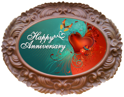 Large Anniversary Printed Chocolate Frame OVAL