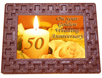 Large Anniversary Printed Chocolate Frame SQUARES - 50th Anniversary