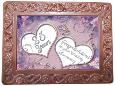 Large Anniversary Printed Chocolate Frame Flowers & Leaves - 25th Anniversary