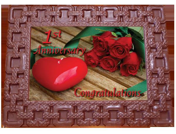 Large Anniversary Printed Chocolate Frame SQUARES - 1st Anniversary