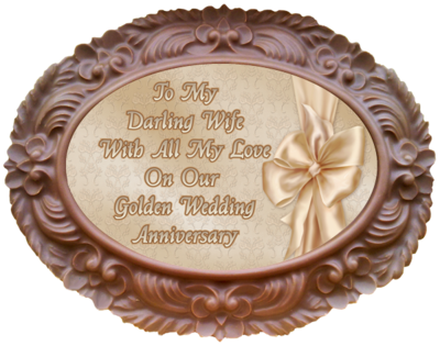 Large Anniversary Printed Chocolate Frame OVAL - Golden Anniversary Wife
