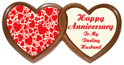 Frame Anniversary Printed Chocolate TWIN HEARTS - Husband