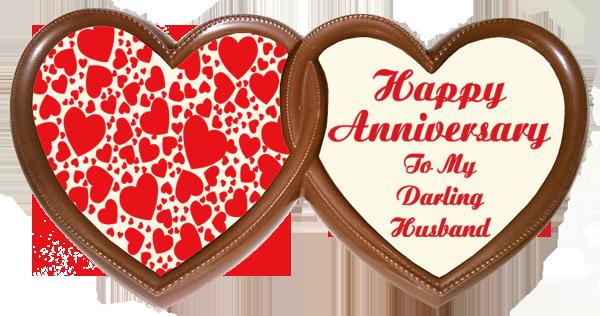 Frame Anniversary Printed Chocolate TWIN HEARTS - Husband
