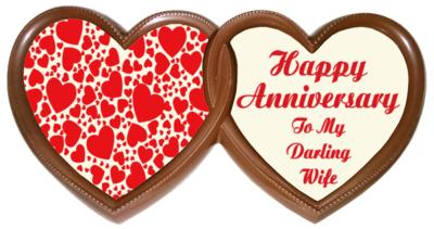 Frame Anniversary Printed Chocolate TWIN HEARTS - Wife