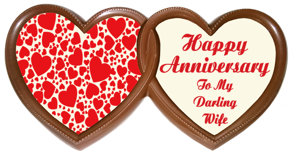 Frame Anniversary Printed Chocolate TWIN HEARTS - Wife