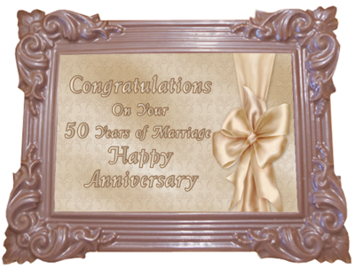 Large Anniversary Printed Chocolate Frame TRADITIONAL - Golden Anniversary