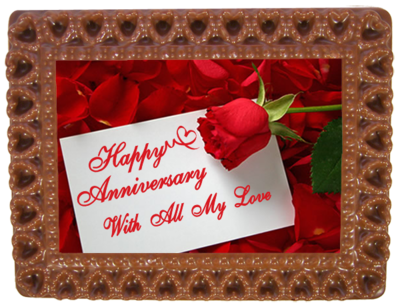 Small Anniversary Printed Chocolate Frame HEARTS