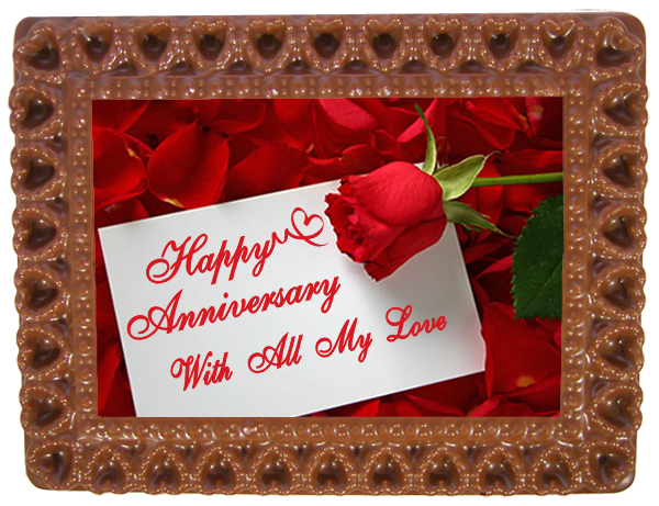 Small Anniversary Printed Chocolate Frame HEARTS