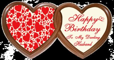 Printed Birthday Chocolate Frame TWIN HEARTS - Husband