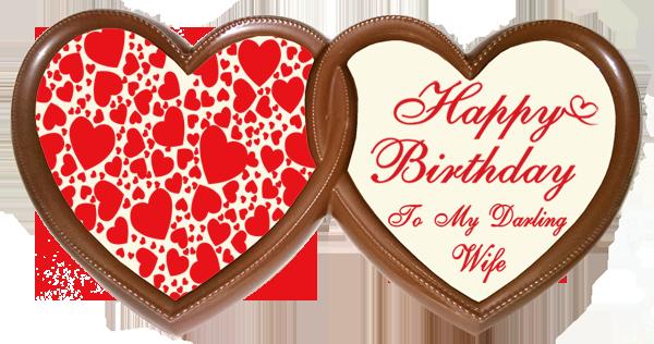 Printed Birthday Chocolate Frame TWIN HEARTS - Wife