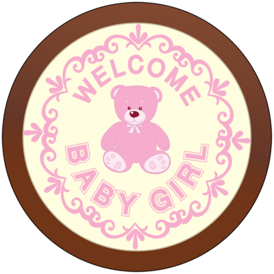 Round Plaque - Welcome Baby Girl