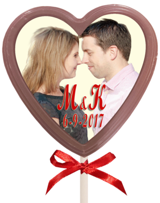 Personalised Printed Wedding Chocolate Lollipop (Heart)