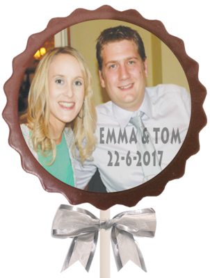 Personalised Printed Wedding Chocolate Lollipop (Flower)