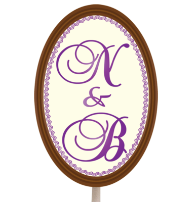 Personalised Printed Wedding Chocolate Lollipop (Oval)