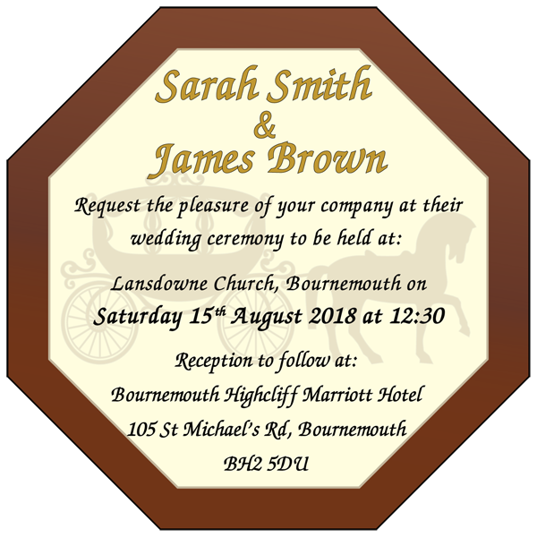Personalised Printed Wedding Chocolate Octagonal Plaque
