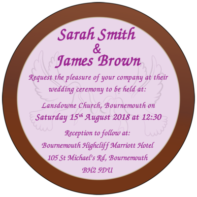 Personalised Printed Wedding Chocolate Round Plaque
